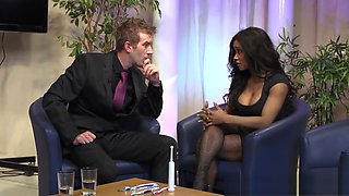 Squirting ebony beauty blasted with jizz