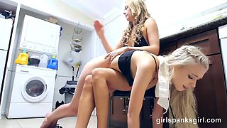 cute snow bunny spanked by hot milf