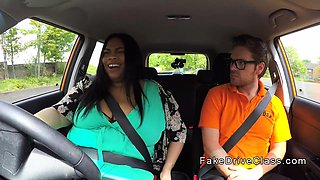Monster tits fat ebony fucks in car