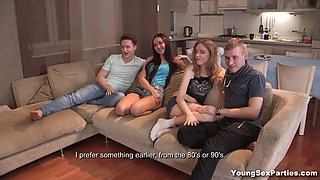 Delectable tiny Russian babes having a steamy foursome