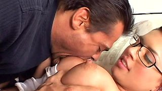 Slender librarian Eva Angelina is sucking a dick