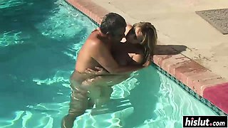 Amazing babe gets fucked by the pool