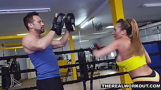 busty milf knocks out her trainer
