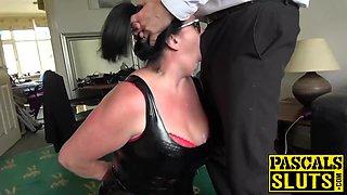 Brunette british slut Curvy Gal gets rough sex from Pascal