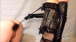 Mistress Lily Spanking and Tickling His Ass