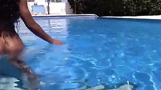 Denise Fagerberg Naked in her pool