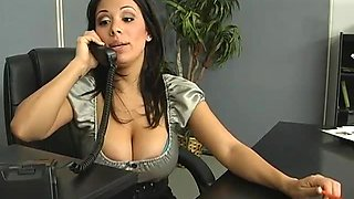 Sara Stone Munching The Brunette Lesbian MILF's Carpet In The Office
