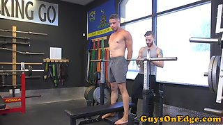 Bound sub gets fingered and edged
