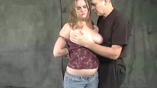 Busty whore in lather mask is punished in the basement