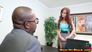 Mom is angry at a boss and then he calm her with his huge cock