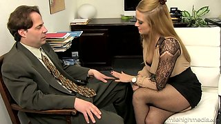 Office whore Holly Heart takes off bra and skirt and seduces one kinky man