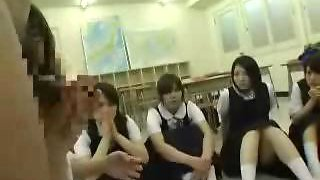 Asian schoolgirls playing with dick,  blowjob,  cumshot