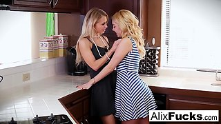 Alix and Aaliyah use the kitchen counter to fuck
