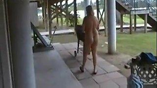 Drunk mature blonde showing off naked
