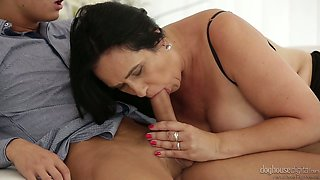 Voracious mature slut Ria fucks handsome young man