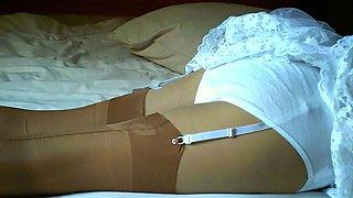 White cotton panties with tan nylon stockings