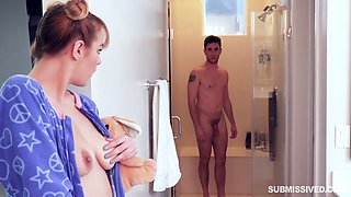 Sex-hungry step sister Sailor Luna is spying on her step brother in the shower