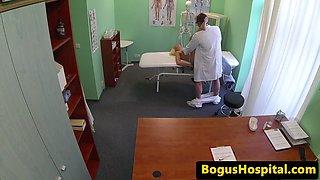 Wonderful patient jizzed on pussy by dr