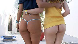 Babes in bikinis get face fucked before their anals shoved in a FFM scene