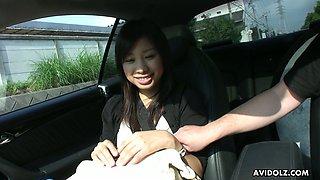 Ardent naturally cum hungry Asian slut Karin Asahi gives BJ in the car