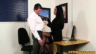Stunning CFNM babes dominating older guy