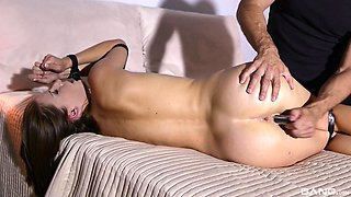Amateur babe Lucia Love gets her hands tied and ass abused with toys