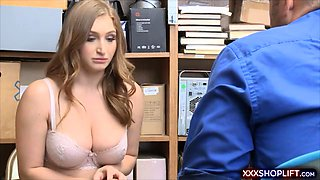 Busty shoplifter got caught and used as a sex doll