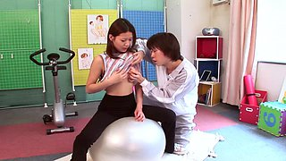 Hot brunette called Haruna is going to get nailed at the gym