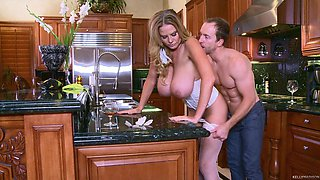 Amazing kitchen fuck with busty blonde slut Kelly Madison