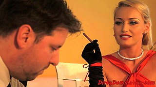 Femdom mistress toying sub in cuckold action