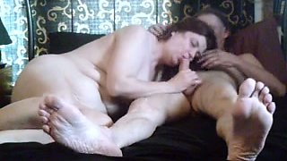 My milf wifey blows my cock on cam for my birthday