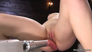 Brunette getting orgasms on fucking machine