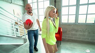 Petite blonde Hime Marie is curious about a monster dick