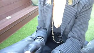 hot crotchless leather milf in boots flashes pussy