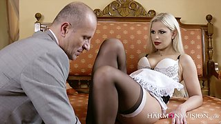 Seductive maid in sexy short uniform Lola is fucked hard in her juicy pussy
