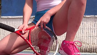 Tennis babe with big titties plays with her hot pussy