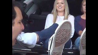 Feet licking in car