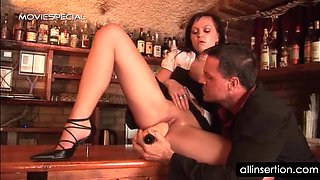 Waitress sucking monster dildo takes it in pussy