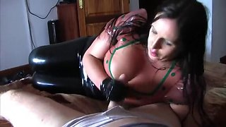 Busty Latex Fantasy - Latex Blowjob Handjob in the Bedroom - Cum on in my Mouth