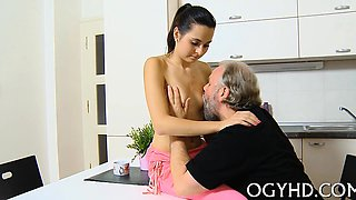 Hot young adorable babe gangbanged by old stud
