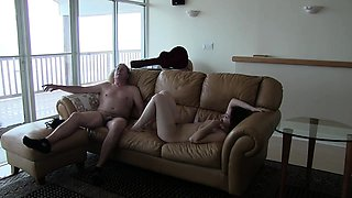 Spy cam in old man's house films him doing a younger chick