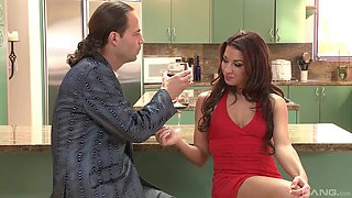 Awesome Ann Marie Rios gets her pussy drilled in the kitchen
