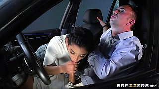 gina valentina deepthroats keiran's big cock in the car