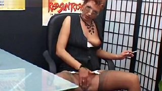 mature slut secretary smoking and masturbates