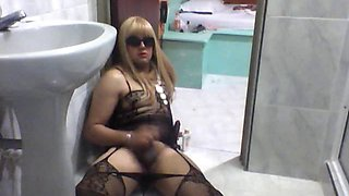 beautiful transvestite cum alone