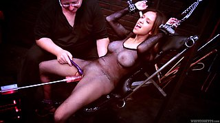 Submissive busty skank gets her snatch pleased by kinky master