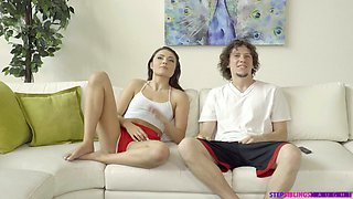 Filthy step sister Adria Rae is eager for step brother's big knob