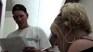 Blonde midget gets fucked by a horny dude