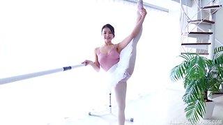Shirakawa Rina is an adorable ballerina receiving a stiff boner