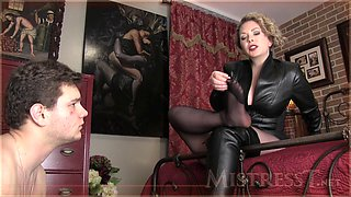 Perverted mature woman plays with her sex slave
